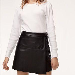 (NWOT) Vegan leather wrap mini skirt